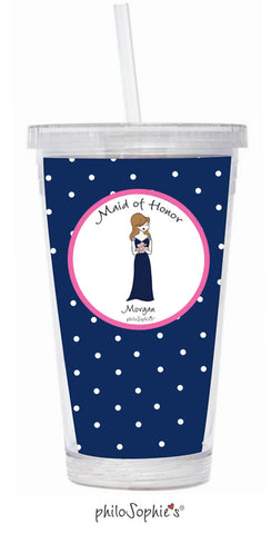 Bridal Party - Personalized Bridesmaid Dress Water Tumbler - philoSophie's®