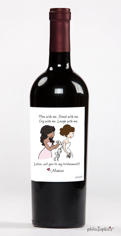 Thank you for being my Bridesmaid Wine Label - philoSophie's®