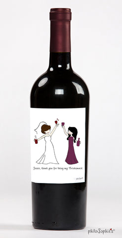 Party Time Wine Bridesmaid Label - philoSophie's®