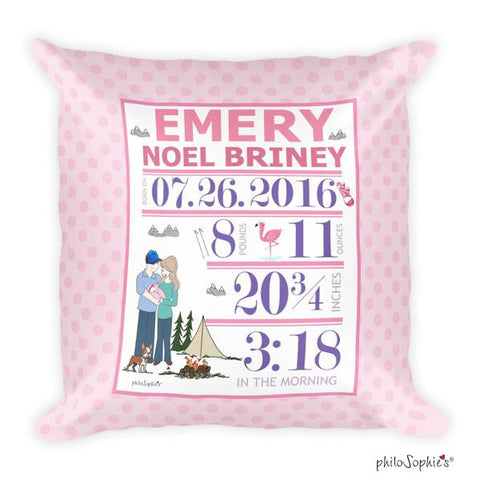 Camping Adventure Baby Announcement Pillow