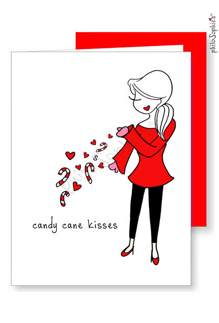 Personalized Candy Cane Kisses Greetings - philoSophie's®