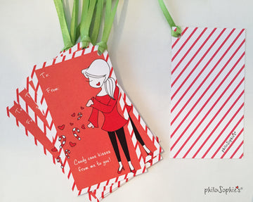 Candy Cane Kisses Gift Tags