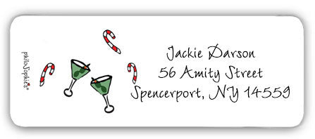Candy Canes & Cocktails  - Return Address Labels - philoSophie's®