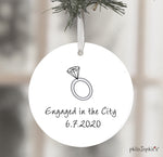 Central Park engagement,NYC skyline, Belvedere Castle Engagement Ornament