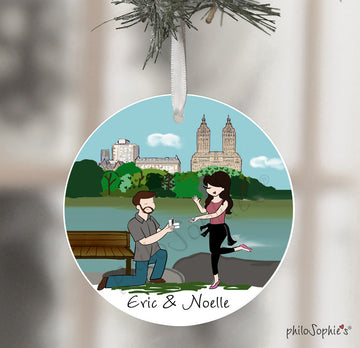 Central Park Pond Engagement Ornament