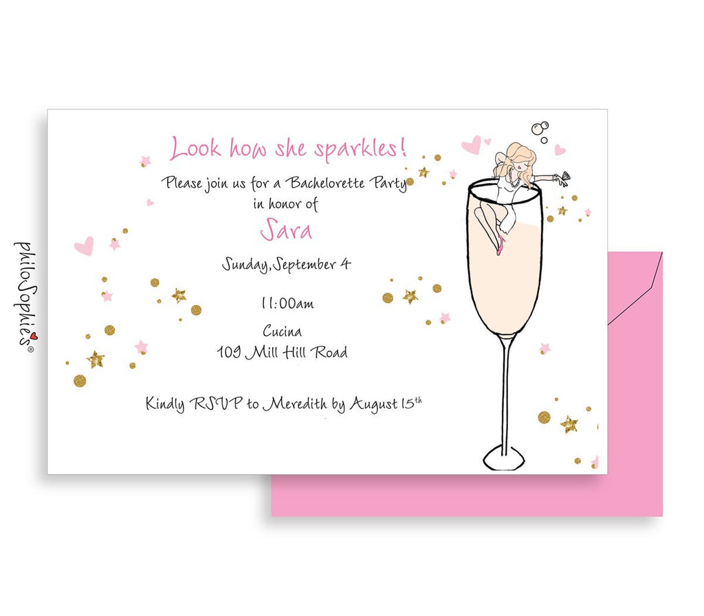 Bubbly Bride! Bridal Shower or Bachelorette Invitation