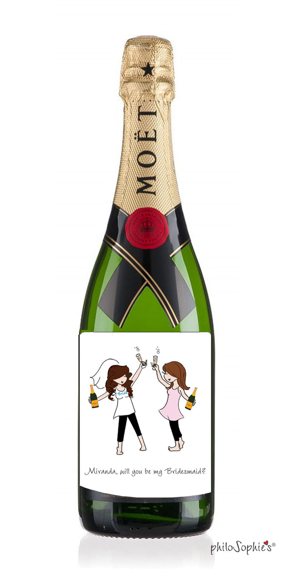 Champagne Toast Bridesmaid Wine Label - philoSophie's®
