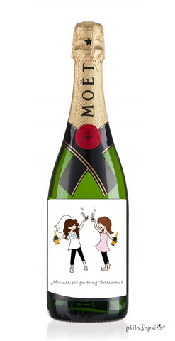Champagne Toast Bridesmaid Wine Label