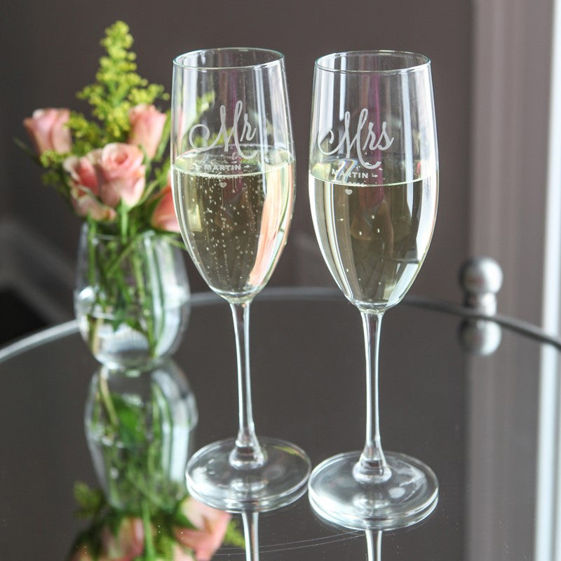 Personalized Wedding Champagne Glasses