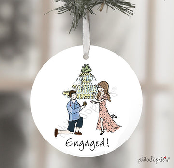 Charleston Engagement Wine Tag/ Ornament