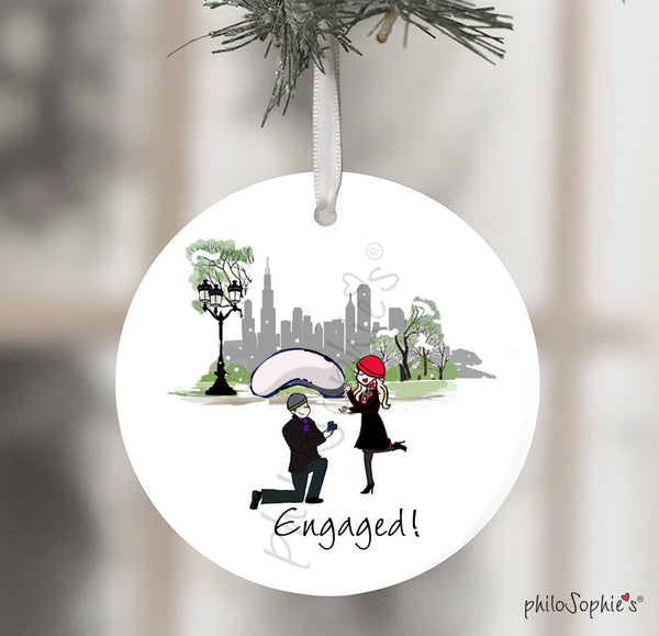 Personalized Chicago Bean Engagement Wine Bottle Tag / Ornament