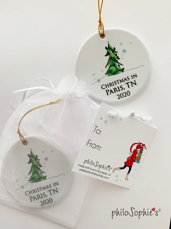 Personalized Christmas Tree - Christmas in ' Town/City'  2020 Ornament