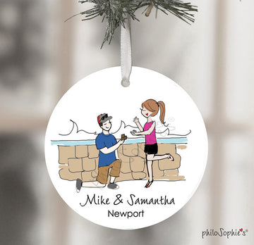Cliffwalk,Newport, RI Engagement Wine Tag/Ornament
