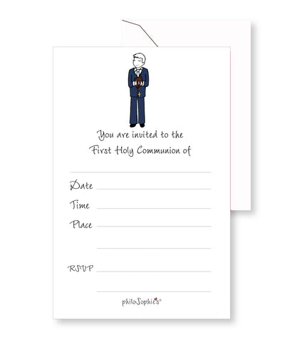 First Communion Boy  Fill-In Invitations