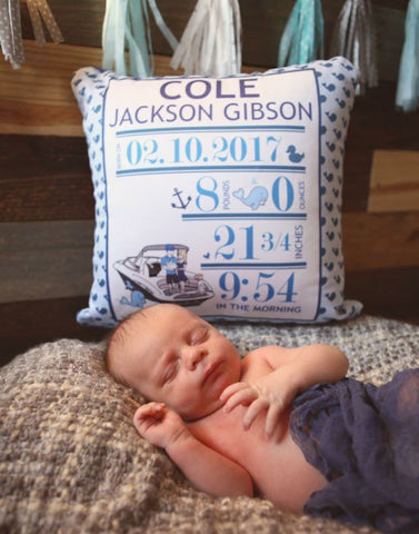 Whale Baby Announcement Pillow - philoSophie's®