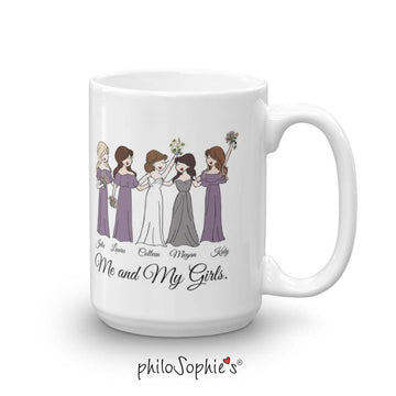 Custom Bridal Party Illustration - Personalized Ceramic Mugs