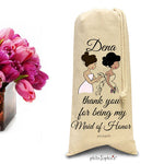 Thank you for being my bridesmaid, maid, matron- personalized wine/champagne tote - philoSophie's®
