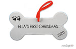 Personalized Bone Christmas Ornament  - Dog's First Christmas, 2020 Ornament