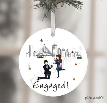 Personalized Boston Skyline Engagement Wine Bottle Tag / Ornament