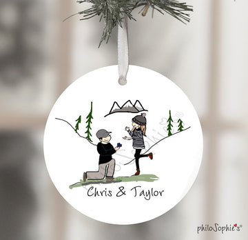 Custom Mountain Hiking Engagement Wine Bottle Tag / Xmas Tree Ornament