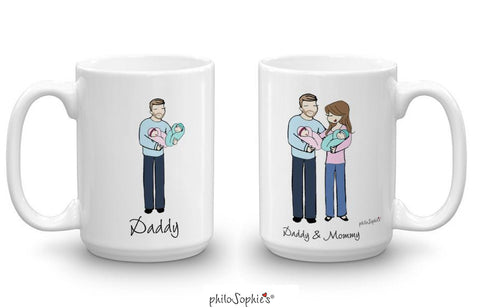 Personalized New Parents Twin Mugs
