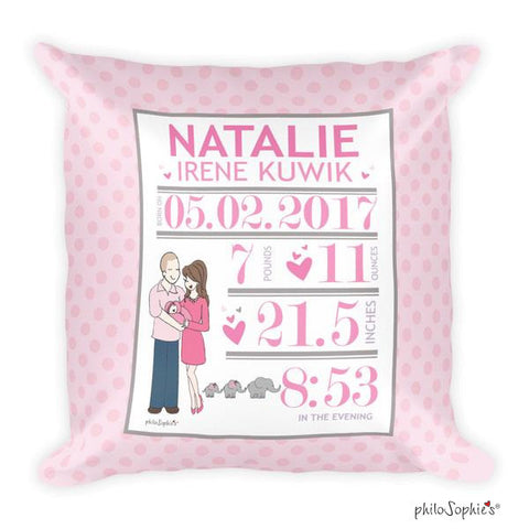 Elephants and Polka Dots Baby Announcement Pillow - philoSophie's®