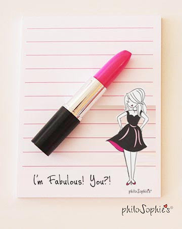 I'm Fabulous! You?! Notepad with 'Lipstick' Pen - philoSophie's®