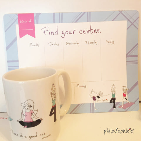 Find Your Center Weekly Notepad & Life's a Workout Ceramic Mug