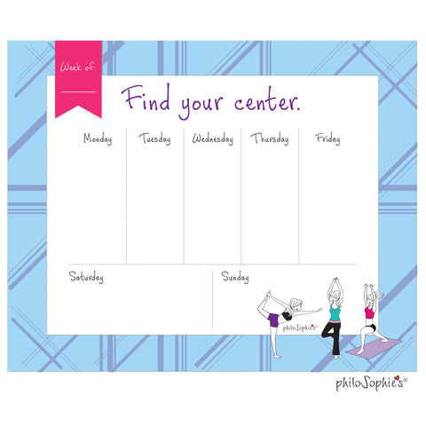Find Your Center Yoga Weekly Desk Pad
