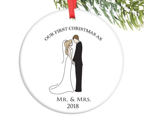 Semi Custom First Married Christmas Ornament - philoSophie's®