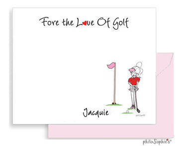 Fore the Love of Golf personalized flat notes