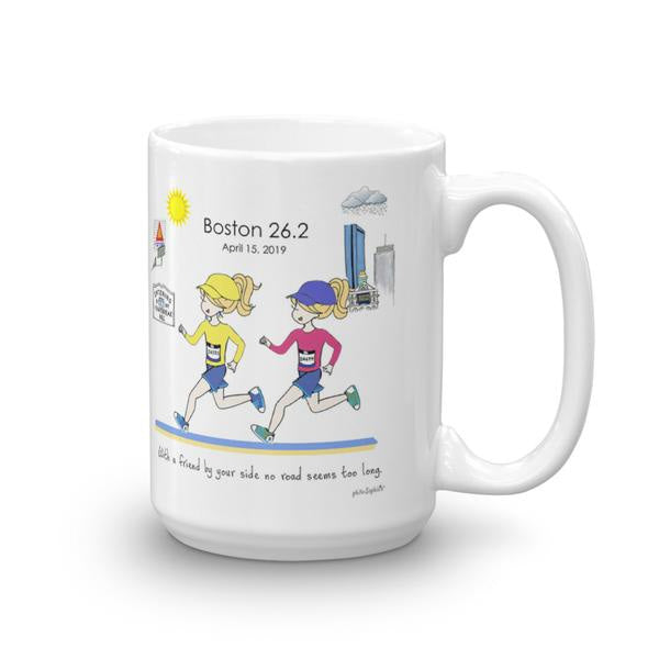 Boston Runner Friends - Friend by your side no road seems too long personalized mug