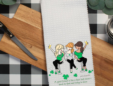 Good friends are like four leaf clovers philoSophie's Waffle Towel