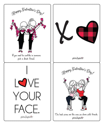 Set of 4 Galentine/Valentine Wine Labels