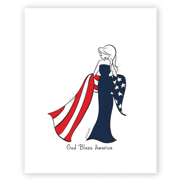 God Bless America, Patriotic Sophie - philoSophie's Wall Art