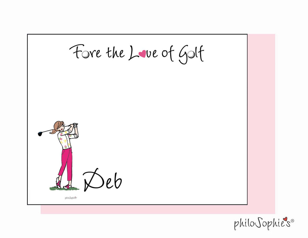 Fore the Love of Golf personalized flat notes - Golf Swing/pants - philoSophie's®