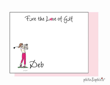 Fore the Love of Golf personalized flat notes - Golf Swing/pants