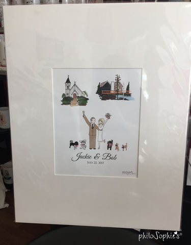 Wedding Guest Book Alternative with Couple Illustration and 2 Location Illustrations - philoSophie's®