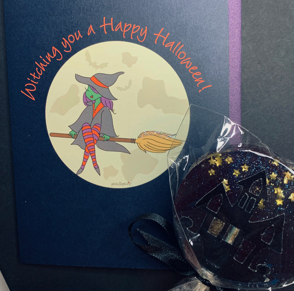 Witching You a Happy Halloween Card & Candy - Small Treat Box