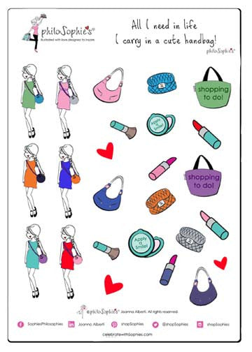 Cute Handbag philoSophie's Sticker Sampler