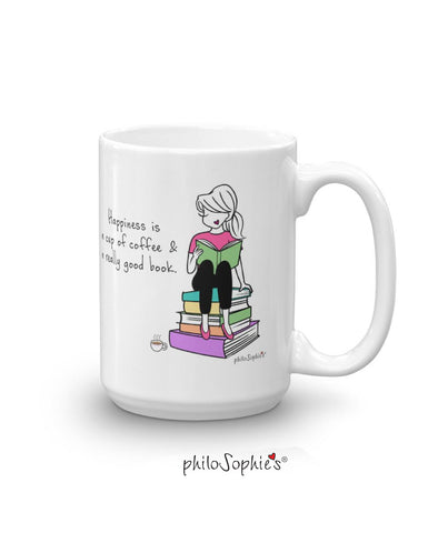'Happiness is a cup of coffee and a really good book' 15 ounce CeramicMug - philoSophie's®