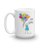 Happy Birthday Balloons 15 ounce philoSophie's  Ceramic Mug