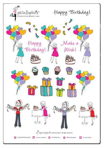 Happy Birthday philoSophie's Sticker Sampler - philoSophie's®