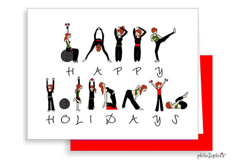 Personalized Happy Holidays Workout Greeting Cards - philoSophie's®