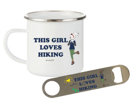 philoSophie's This Girl Loves Hiking Camp Cup & Bottle Opener Gift Set - philoSophie's®