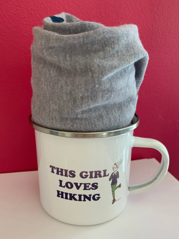 This Girl Loves Hiking V Neck Shirt with Tin Cup