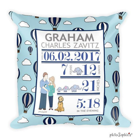 Hot Air Balloon Baby Announcement Pillow - philoSophie's®