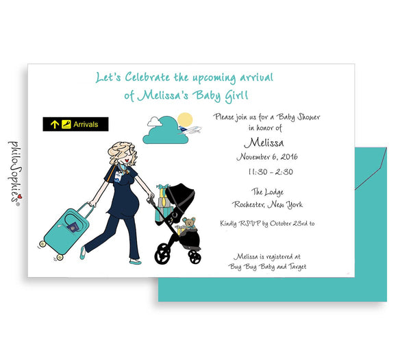 Personalized Baby Shower - Jet Blue Baby Arrival - philoSophie's®