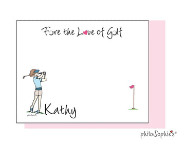 Fore the Love of Golf personalized flat notes - Golf Swing/shorts & visor