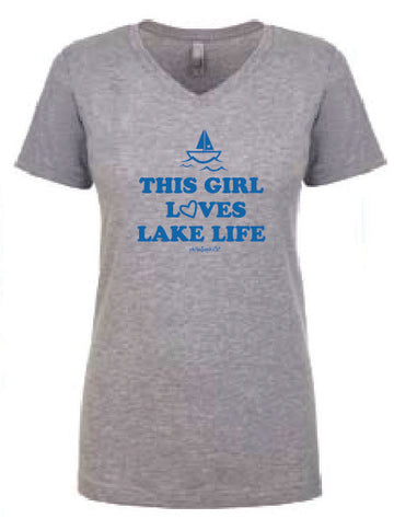 This Girl Loves Lake Life V Neck Shirt